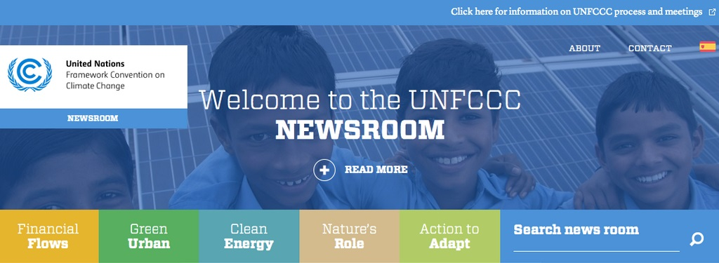 Welcome Banner of the UNFCCC Newsroom - Links to Financial Flows, Green Urban, Clean Energy, Nature's Role and Action to Adapt.